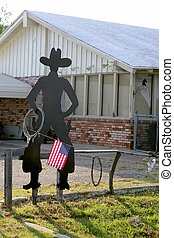 American flag with cowboy man silhouette - American flag...