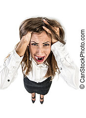 Stressed Busineswoman - Young businesswoman having problem...