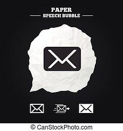 Mail envelope icons Message symbols - Mail envelope icons...