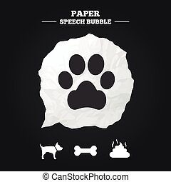 Pets icons Dog paw and feces signs Clean up after pets Pets...