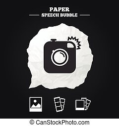 Photo camera icon Flash light and landscape - Hipster photo...