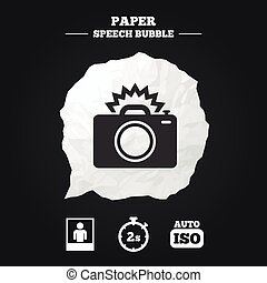 Photo camera icon Flash light and Auto ISO - Photo camera...