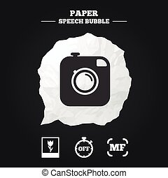 Photo camera icon Manual focus and Macro signs - Hipster...