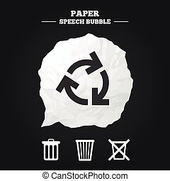 Recycle bin icons. Reuse or reduce symbol. - Recycle bin...