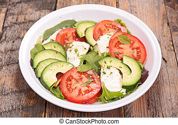 avocado,tomato and mozzarella salad