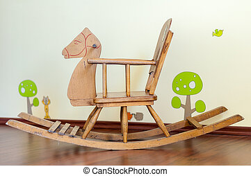 Wooden horse  in a child's bedroom