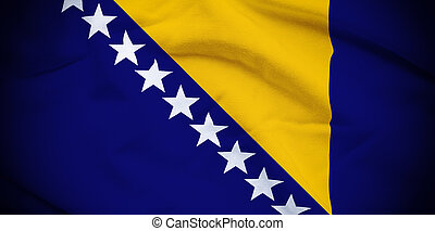 Bosnia and Herzegovina Flag - Wavy and rippled national flag...