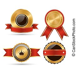 Golden Red Black Premium Quality Best Labels Collection Isolated on White