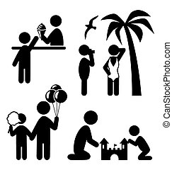 Summertime pictograms flat people icons isolated on white