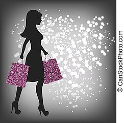 Black Friday Sale Shopping Woman with Bags on Dark...