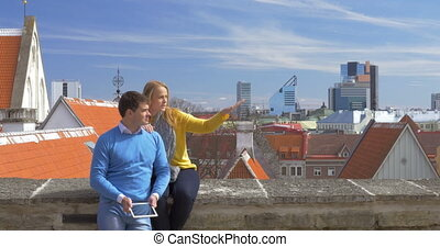 Couple Having a Date in Historic City of Tallinn - Young...