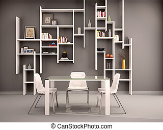 3d illustration of dark room filled with white shelves and...