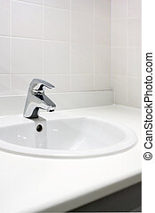 Clean washbasin - Fresh and clean washbasin and chrome tap