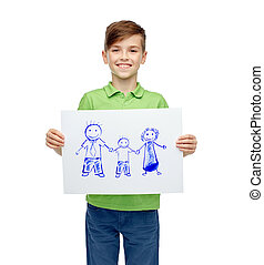 happy boy holding drawing or picture of family - childhood,...