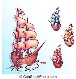 Vector illustration of sail ship with label
