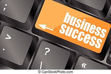 business success button on computer keyboard key, vector illustration