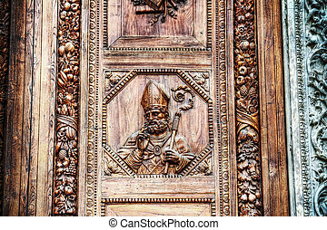 close up of Santa Croce main door in Florence, Italy