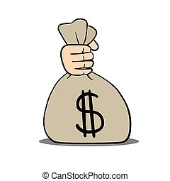 money sack - This is an illustration of a hand holding money...