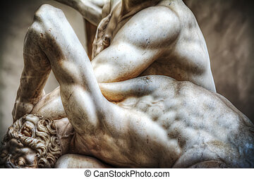 Hercules and Nesso centaur statue - Centaur head close up of...