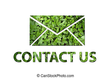 Ecological contact us symbol - A mail symbol with the text...