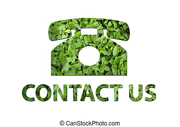 Ecological contact us symbol - A telephone symbol with the...