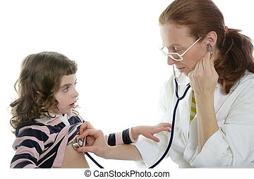 Pediatrician woman doctor stethoscope girl