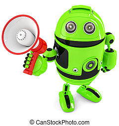 Green robot shouting into bullhorn. Isolated. Contains...