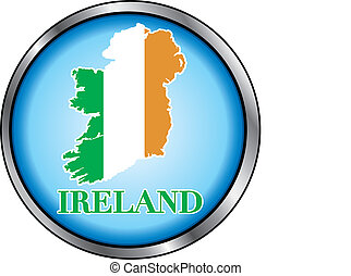 Ireland Round Button - Vector Illustration for Ireland,...
