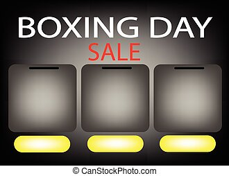 Three Square Label on Boxing Day Sale Background - Three...