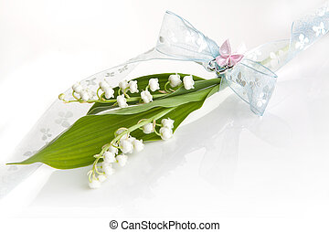 Lillies with romantic bow