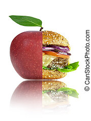 Healthy and unhealthy food nutrition choices concept