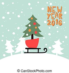 New Year Greeting card with a picture of Christmas tree on sled.