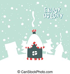 Illustration of house on a snowy background.