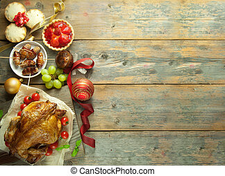 Christmas meal background - Xmas savory and sweet food...