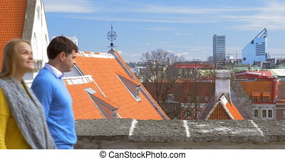 Couple Watching the Scenery of Old and Modern Tallinn -...