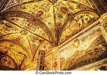 XVI century fresco in Palazzo Vecchio courtyard vault,...