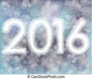 Happy New year 2016 snow background, vector illustration
