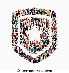 people shape shield protection - A large group of people in...
