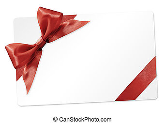 gift card with red ribbon bow Isolated on white background
