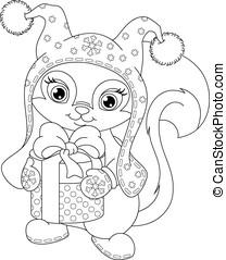 Christmas Squirrel Coloring Page