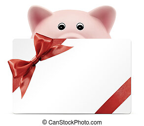 card gift with piggy bank, red ribbon bow, Isolated on white...