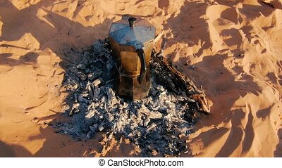 italian coffee on sahara desert - italian coffee machine on...