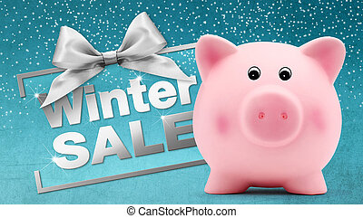 winter sale text with piggy bank, silver ribbon bow,...