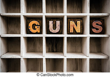 armas, conceito, madeira, Letterpress, tipo, em, desenhar,