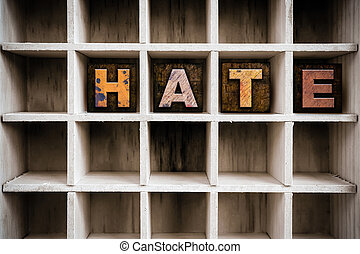 Hate Concept Wooden Letterpress Type in Draw - The word...