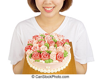 Women Congrats rose flower cream cake traditional and...