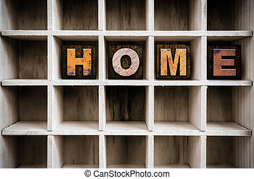 Home Concept Wooden Letterpress Type in Draw - The word HOME...
