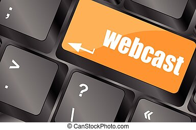 keyboard key with webcast web button, vector illustration