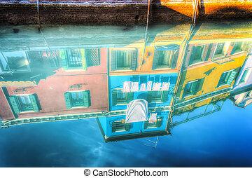 eau, bâtiments,  Burano, reflété, coloré