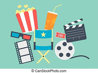 Movie Popcorn, Ticket, Clapperboard, Film